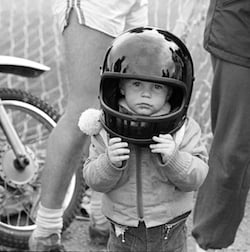 Child with a helmet