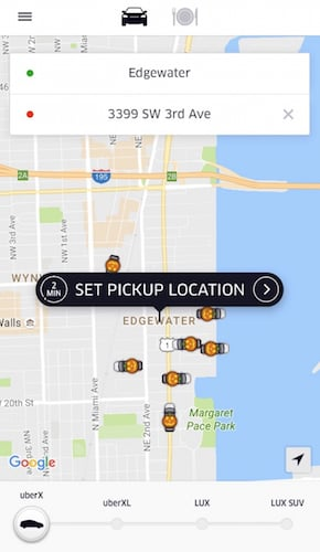 Uber on Edgewater Miami