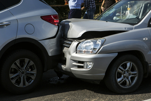 Two Gray Cars in Accident